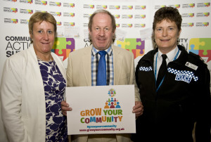 Support for the campaign at the Grow Your Community conference on Friday 25 September 2015. (above L-R) Chris Abraham, Deputy Chief Executive, Community Action Suffolk Tim Passmore, Police and Crime Commissioner for Suffolk Constabulary Chief Superintendent Terry Byford, Suffolk Constabulary.